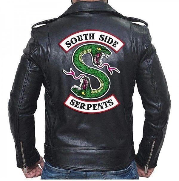 Riverdale Southside Serpents Gang Mens Black Real Biker Leather Jacket