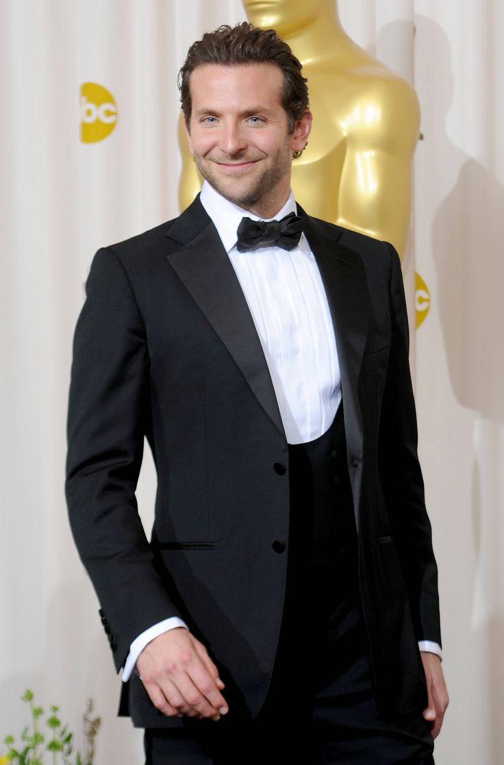 Bradley Cooper, three-piece with horseshoe cut waistcoat