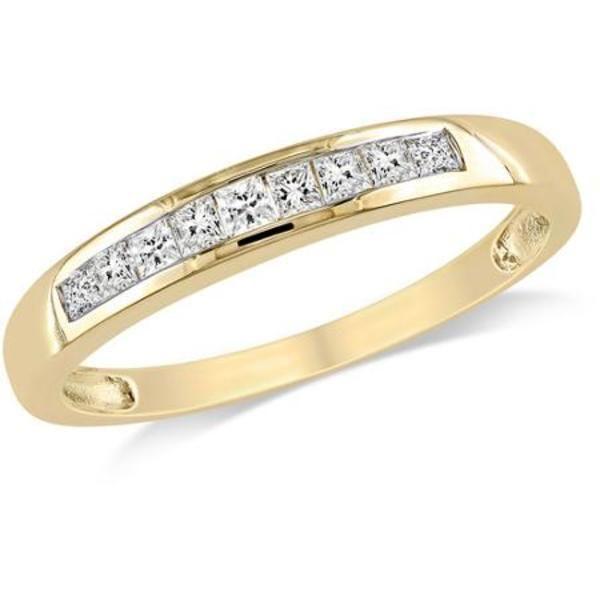 1/4 Carat T.W. Princess Cut Diamond Semi Eternity Ring in 10kt Yellow Gold  #jpjewels8 #(M-W551927475) other seffer listilg