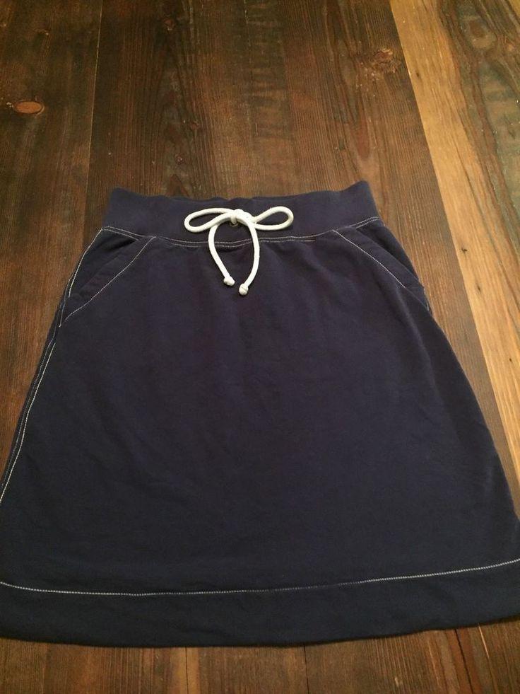 J Crew Navy Blue Knit Cotton Nautical Skirt Small Athleisure! #JCREW #ALine #Casual