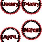 These are cute monthly labels that can be used for birthday bulletin boards, graphing, or other management procedures.  Colors are red, black and w...