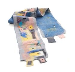"Unique artistic nuno felted scarf ""drawn"" on silk canvass with merino wool. Nuno felting technique."