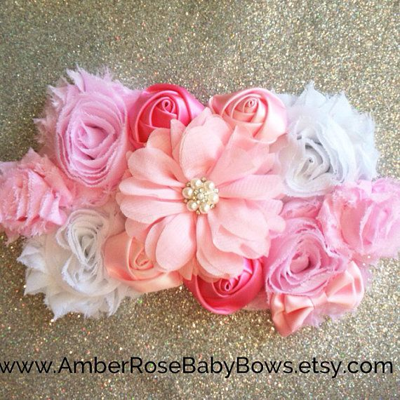 Pink Maternity Sash Photo Prop for a Girl- It's a Girl, Baby Shower, Pregnancy, Baby Bump, Newborn, Flowers  on Etsy, $26.15