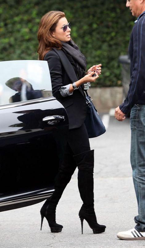 Eva Longoria. Black blazer and over the knee boots