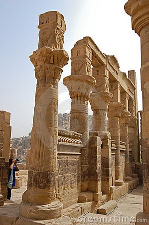 Columns of Hathor head goddess, Egypt
