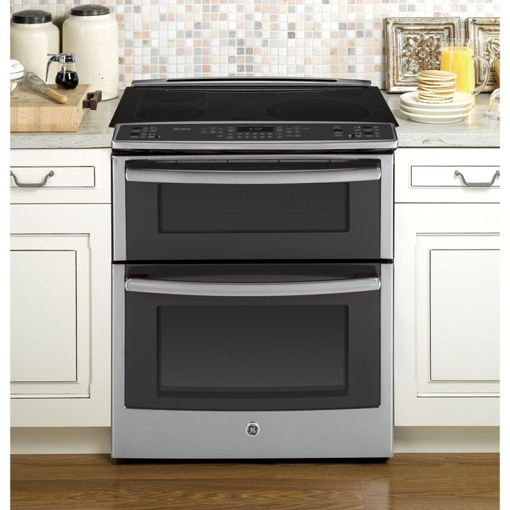 GE Profile Series 30-inch Slide-in Double Oven Electric Convection Range (Slate), White (Stainless Steel)