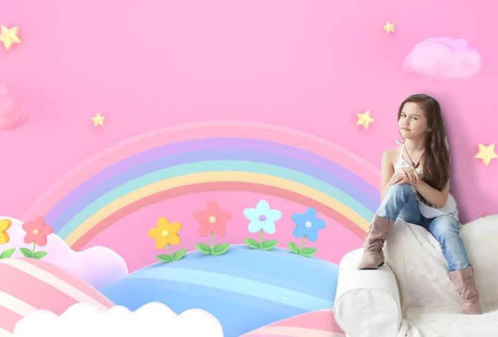 (1) 3D Rainbow Pink Background Wall Mural Wallpaper 144