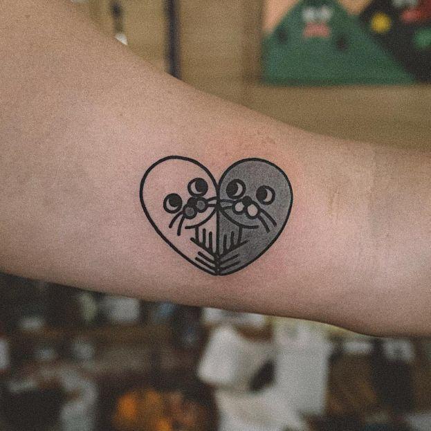 Cute heart seal tattoo