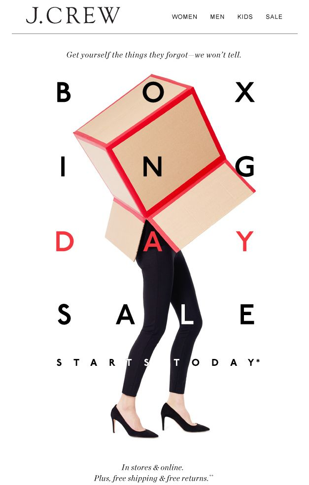 J Crew Boxing Day SALE Email Design