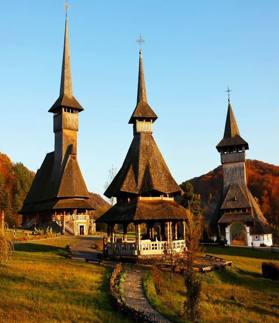 Interesting-looking Barsana Wooden Monasteries in  Maramures, Romania