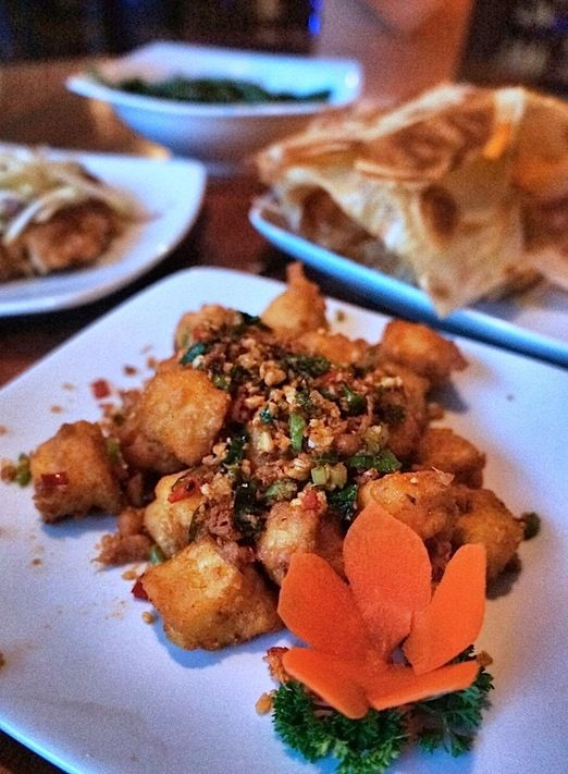 Modern Indonesian Food: Tjendana Bistro offers modern Indonesian dishes such as this fried tofu sprinkle with chili.  (P...