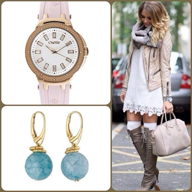 Oxette New York Style..! NY Watch Available here: http://www.oxette.gr/rologia/s.steel-watch-with-pink-strap687l-1/#oxette #watch #earrings