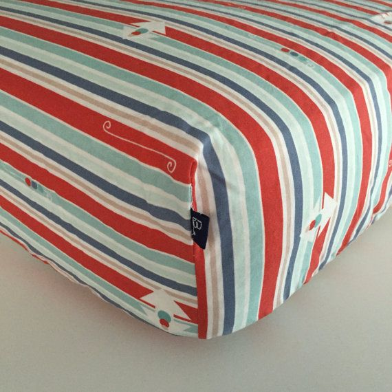FITTED CRIB SHEET  Red Blue Green Vertical Stripes  by Beakyriboo