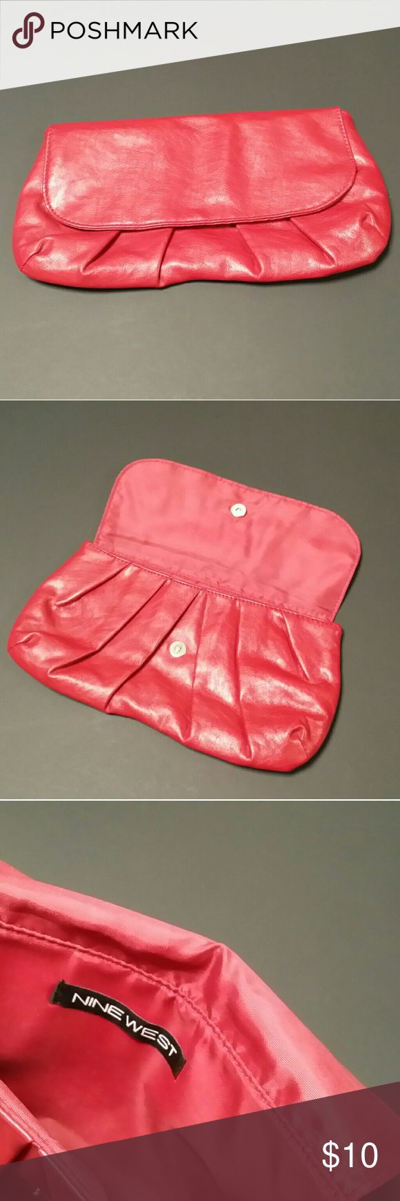 Nine West small red clutch purse This is a small red night on the town clutch purse.  Just big enough for the essentials.  Red Soft leather.  The Brand is Nine West.  VERY GOOD USED CONDITION. Nine West Bags Clutches & Wristlets