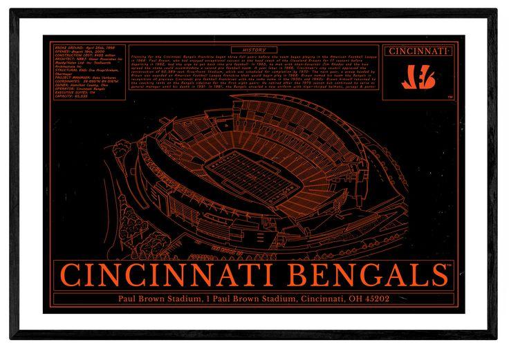 Unique NFL Stadium Blueprint - Cincinnati Bengals Paul Brown Stadium
