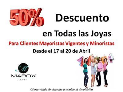 Marox Joyas:  Desde el 17 al 20 de Abril todas las Joyas BAJAR...