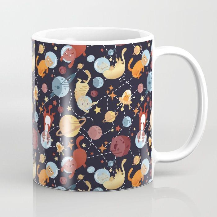 Cat astronaut seamless pattern Mug by Erika Biro | Society6