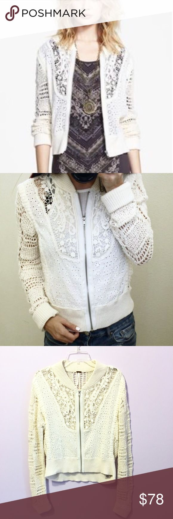 Free People Crochet Zip Up Sweater Jacket This cream colored zip up sweater/jacket is perfect for spring and summer! Light and airy but still adds some warmth. In great condition. Would be good for size M and L. Free People Jackets & Coats