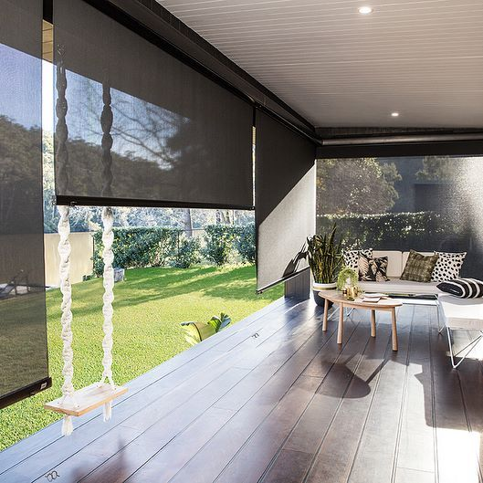 The addition of Luxaflex Evo Awnings to the @threebirdsrenovations River Shack deck created a beautiful extension of the indoor living space #threebirdsrenovations #rivershack #evo #awnings #light #privacy #control #myluxaflexaus #custom #madetomeasure #quality #indoor #outdoor #living #blindlove #renovation