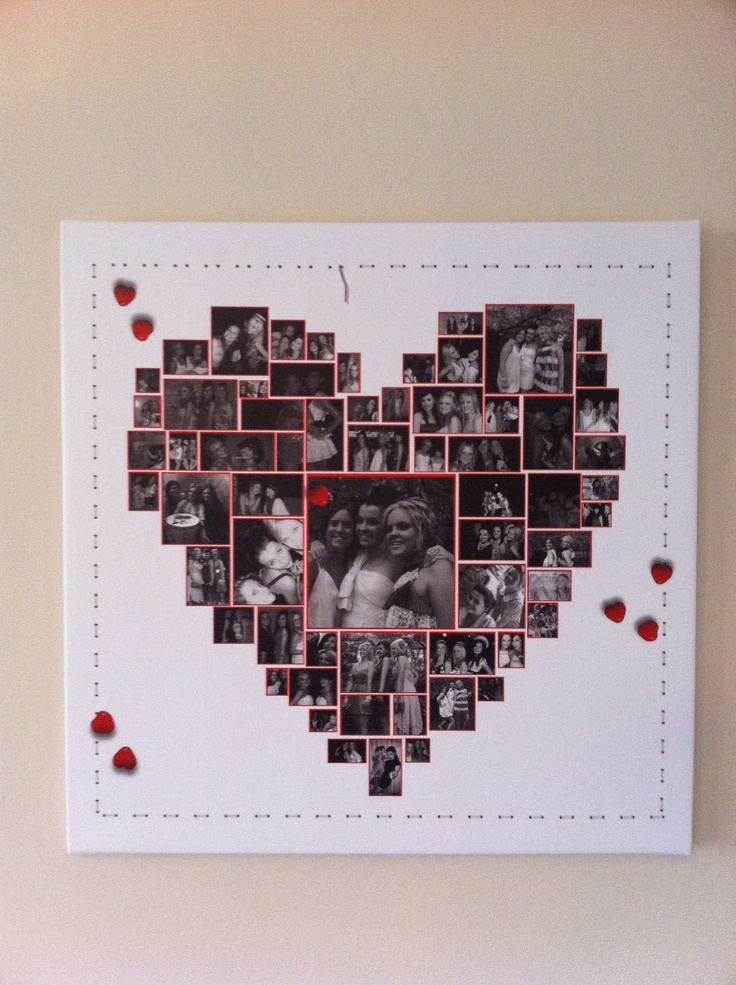 A Canvas Print With A Heart Collage Gets Many Pictures Into One Frame Gorgeous Way To Show