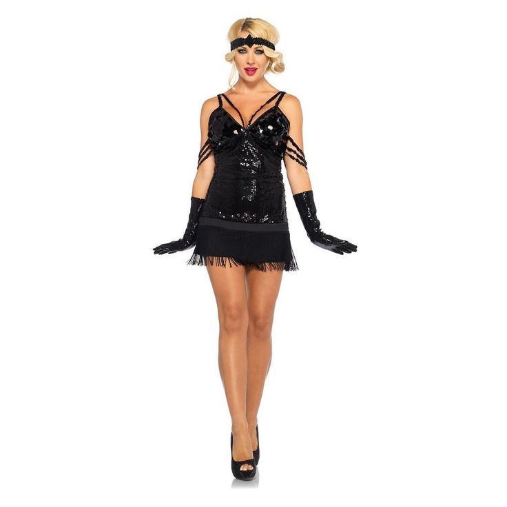 Flapper Girl Costume Adult Roaring 20s Halloween Fancy Dress | Clothing, Shoes & Accessories, Costumes, Reenactment, Theater, Costumes | eBay!