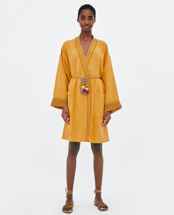 0eabf45a KAFTÁN PESPUNTES CONTRASTE   kimono   Zara tops, Zara fashion, ZARA