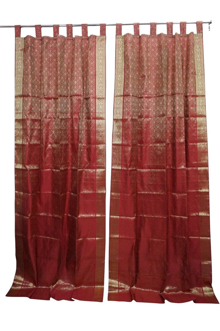 Indian curtains drapes - Details About Indian Sari Curtain Red Golden Brocade Window Treatment Drapes Curtains