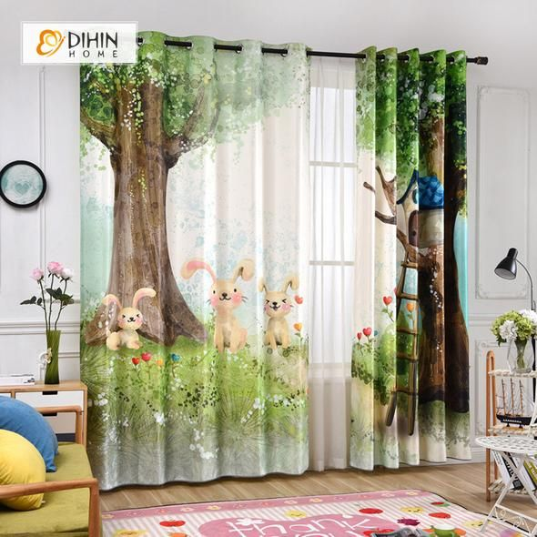Dihin Home 3d Printed Cute Rabbit Blackout Curtains Window Curtains Grommet Curtain For Living Room 39x102 Inch 2 Panels Included Curtains Living Room Kids Room Curtains Cool Curtains #print #curtains #living #room