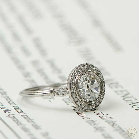 1 66ct Vintage Old European Cut Diamond Engagement Ring Row of Pave and fin