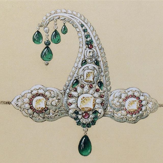 This beautiful design for a head ornament was created in 1928 for the Maharaja of Patiala by Boucheron. Earlier that year, the Maharaja had arrived in the Place Vendôme accompanied by six large boxes of gemstones which he delivered to Boucheron with the request that they be used to make 149 pieces of jewellery. This design is just one of many that were drawn up as part of the most extraordinary commission the Maison has ever received.