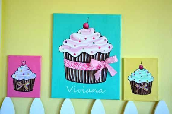 custom cupcake canvas, cupcake nursery, cupcake room decor, little ...