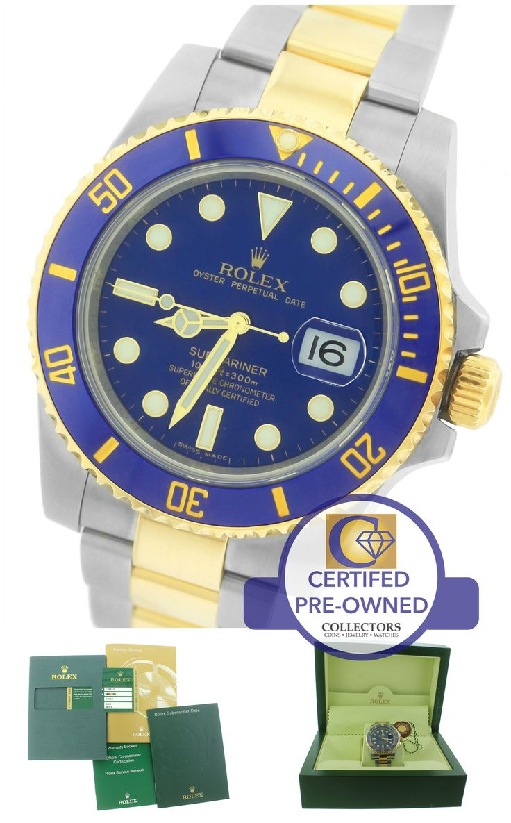 MINT Men's Rolex Submariner Ceramic 116613 LB Two-Tone Gold Blue Dive Watch