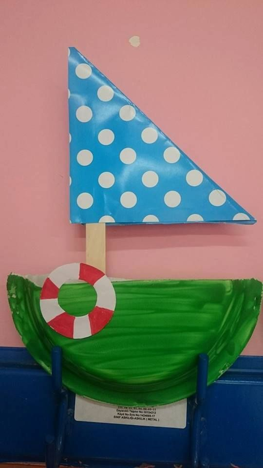 paper plate sailboat craft. Fold paper plate in half. Decorate outside. Make slit in fold and insert popsicle stick and tape to inside of plate. Fold colored paper into trianle shape and attach to stick for sale.