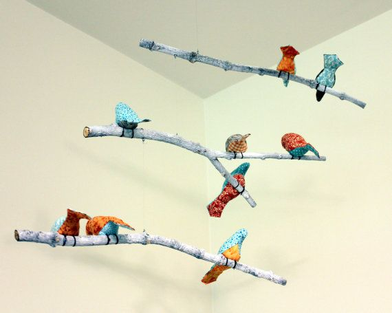 tree branch to hang items off of - Bird Hanging Mobile- Blue / Orange / Gray Birds - Made to order