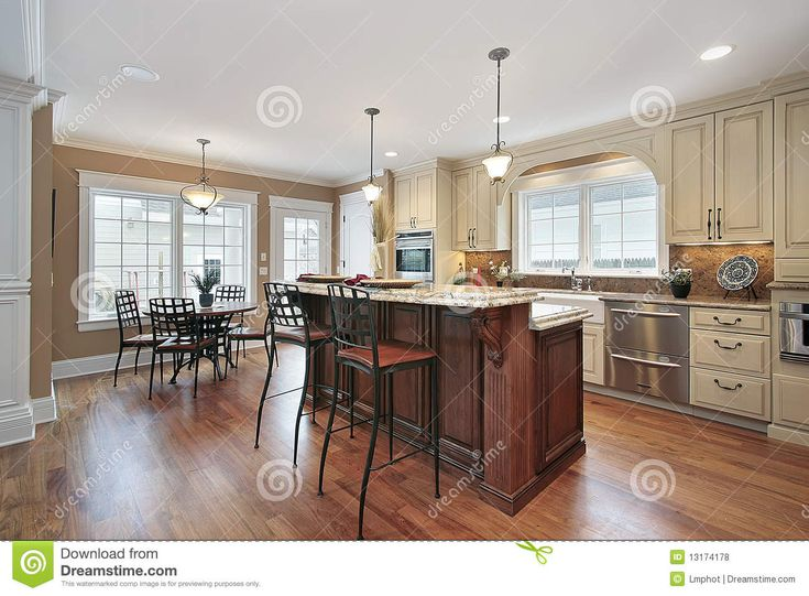 Exceptional 2 Tiered Kitchen Island | Kitchen In Luxury Home With Two Tiered Island Mr  No Pr