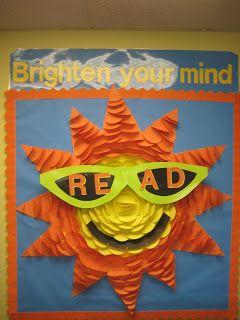 Lorri's School Library Blog-reading bulletin board, summer library bulletin board