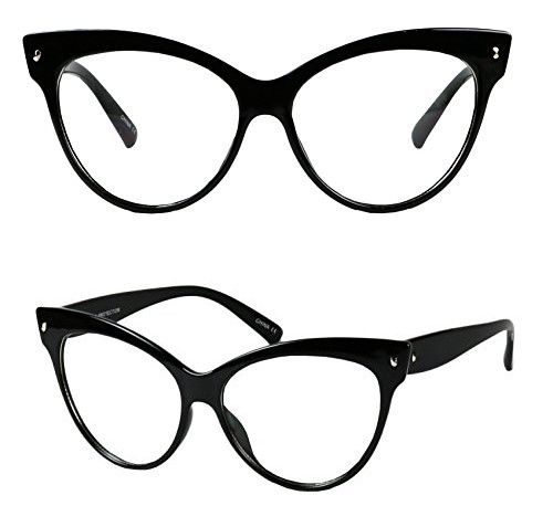 84b360edc Basik Eyewear - Vintage Cat Eye Oversize Clear Lens Fashion MOD Sunglasses (Glossy  Black