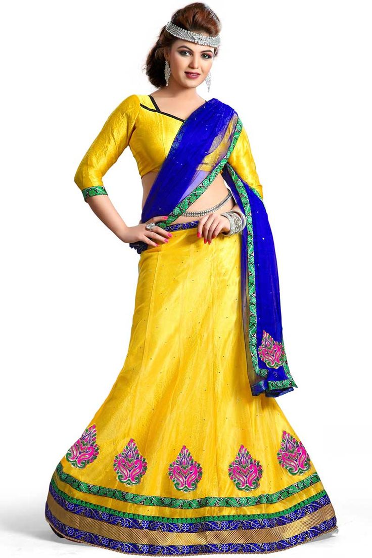 Yellow Net Lehenga And Satin Choli  Price:£49  Yellow satin semi stictch lehenga choli. Embellished with embroidered, resham, zari and stone. It is perfect for festival wear, wedding wear and party wear. Lehenga Inner fabric is satin.0.80 mtr Choli : 2.25 mtr Dupatta : 3 mtr Lehenga and blouse is unstitched.  http://www.andaazfashion.co.uk/womens/lehenga-choli/yellow-net-lehenga-and-satin-choli-dmv8680.html