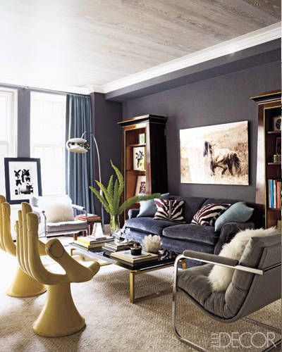 """Pedro Friedeberg """"hand"""" chairs, Milo Baughman armchairs upholstered in a Holland & Sherry wool flannel 