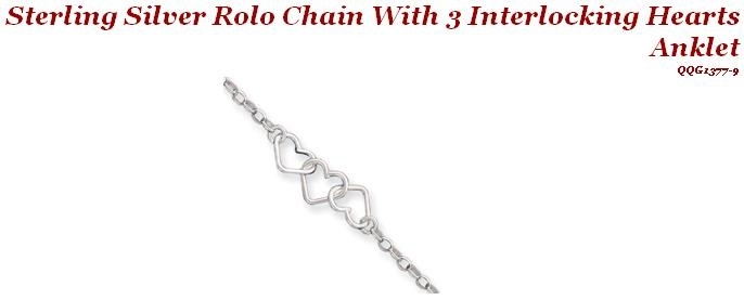 Sterling Silver Rolo Chain w/ 3 Interlocking Hearts Anklet