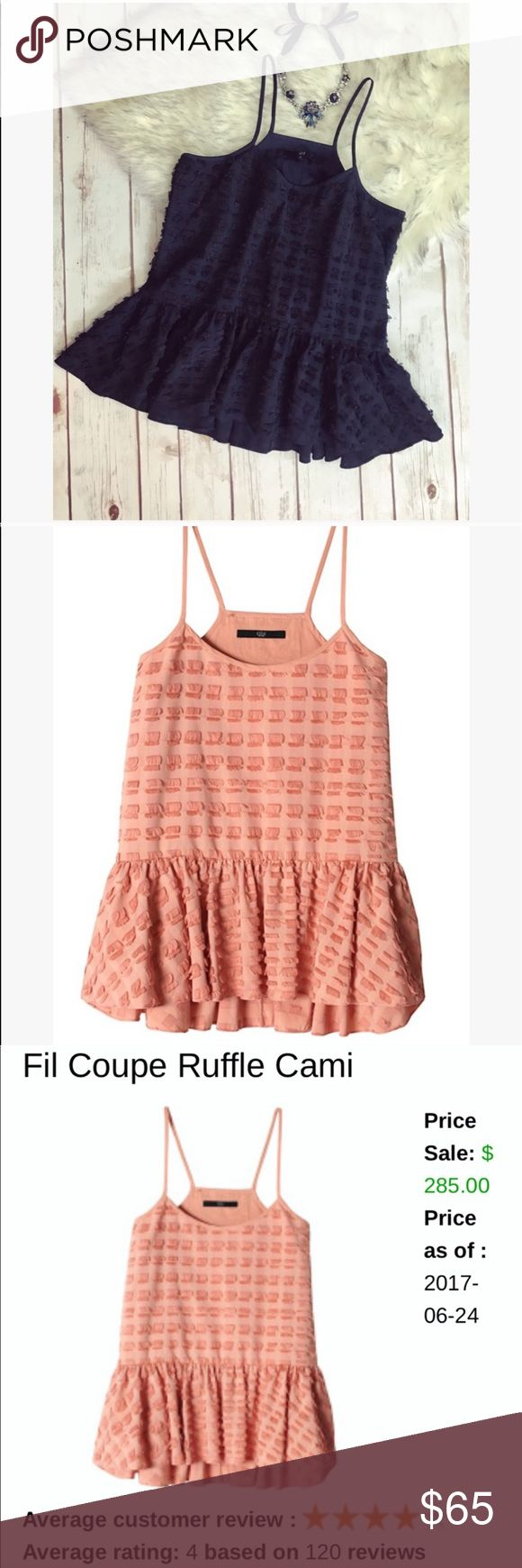 💗 Gorgeous Tibi ruffle cami flare top 💗 💝 Gorgeous Tibi couple ruffle cami top in size 6 and color is navy (couldn't find original picture in this color but I did found in orange) fit flare so gorgeous and great quality material 💝 Tibi Tops Blouses