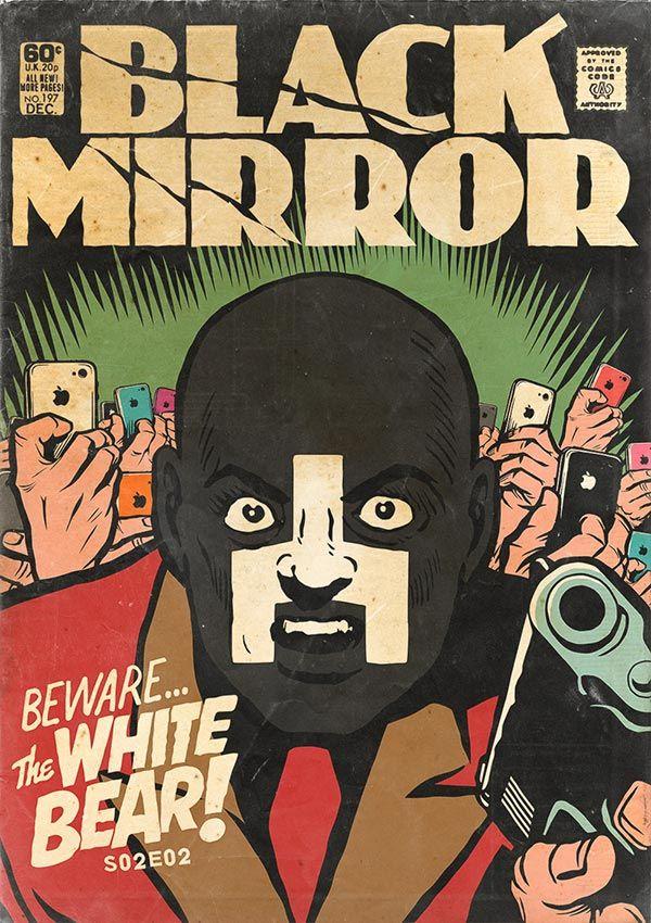O designer Butcher Billy, reimaginou os treze episódios de Black Mirror como se fossem revistas em quadrinhos dos anos 70.