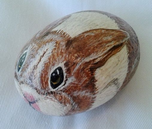 Easter Basket Stuffer/Hand painted Rock/Bunny Rabbit/Garden Stone//Kids Pet Rock/Yard Ornament/Fine Art on Etsy