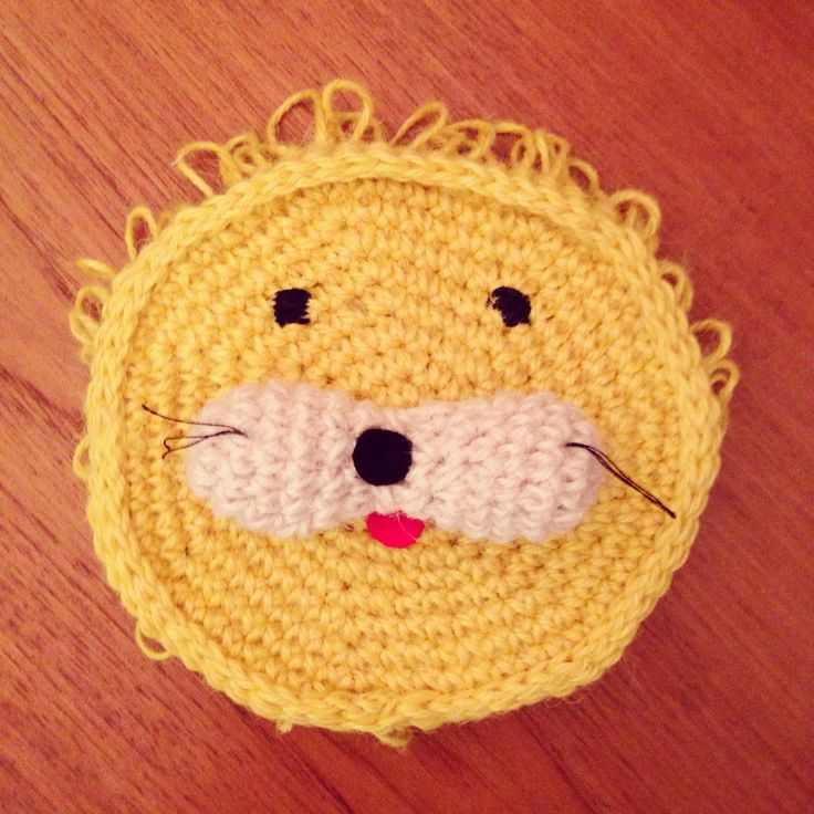 """DIY: 100% jute, crocheted animal purse """"lion"""" for kids and fashion girls:)"""