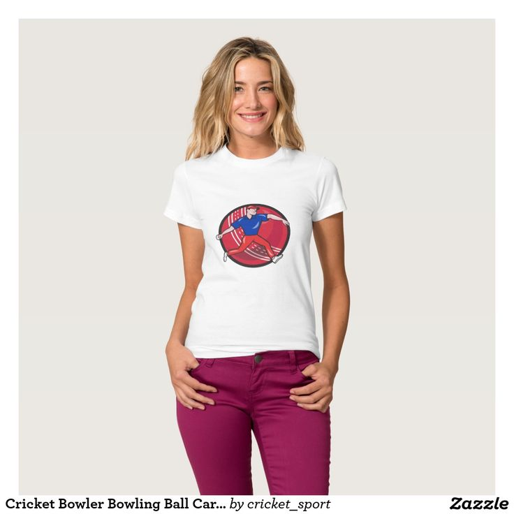 Cricket Bowler Bowling Ball Cartoon T Shirt. Cricket World Cup women's t-shirt with an illustration of a cricket player bowler bowling with cricket ball in background isolated on white done in cartoon style. #cricket #cricketworldcup #t20worldcup #worldtwenty20 #t20worldcup2016