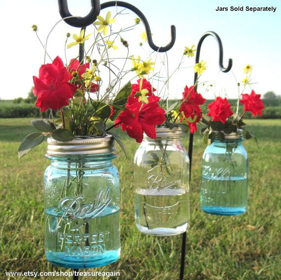 DIY Hanging Vases 12 Ball Mason Jar Hanging Flower Frog LIDS, for Candles, Flowers, Lanterns, Mason Jar Weddings (by treasureagain on Etsy!)