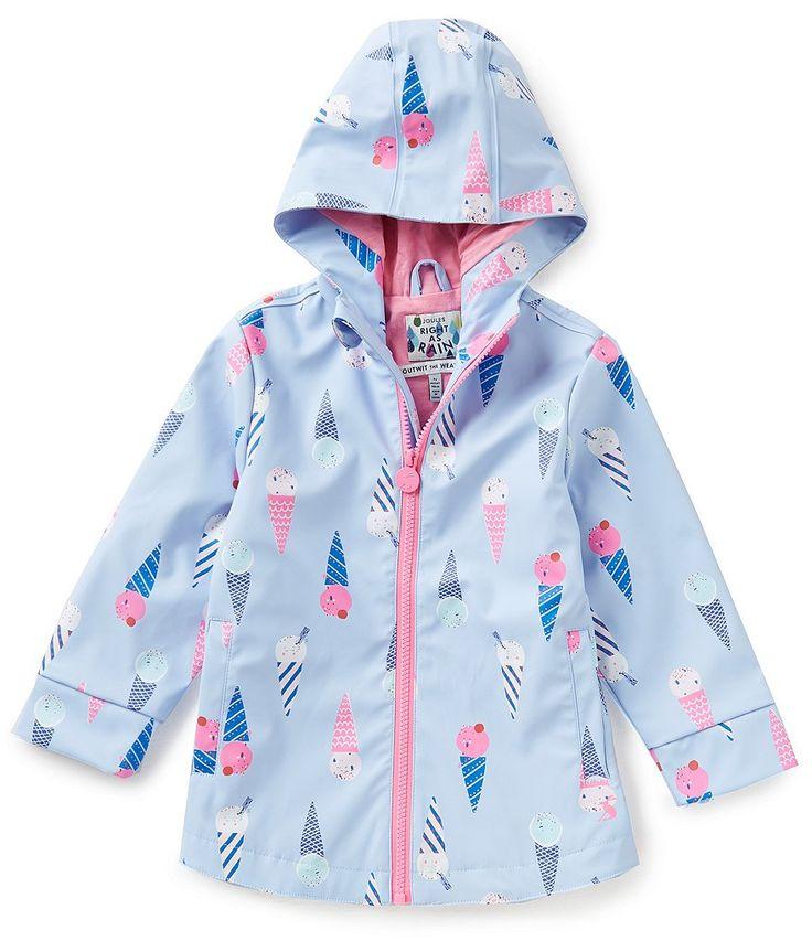 Joules Little Girls 1-6 Ice Cream Print Hooded Full-Zip Fleece-Lined Raincoat