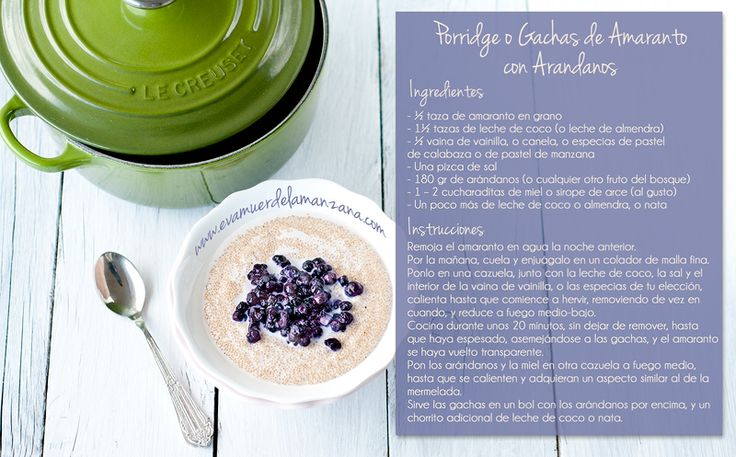 Mini Receta: Porridge o Gachas de Amaranto con Leche de Coco y Arándanos