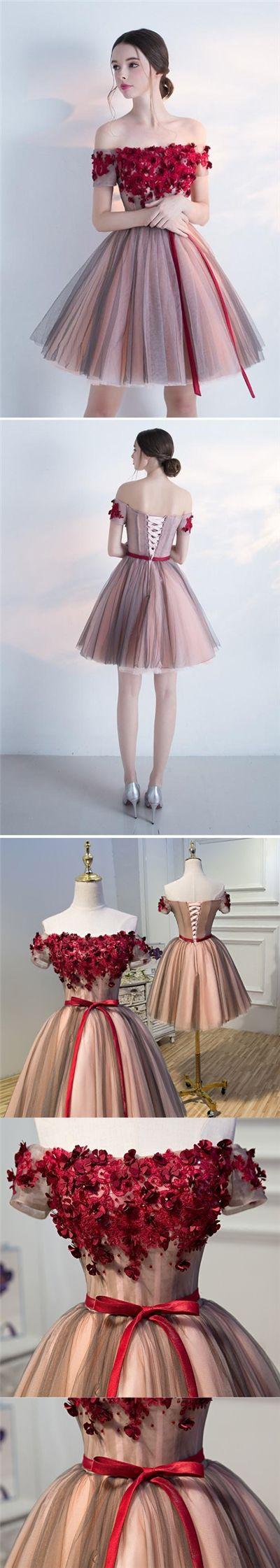2017 Homecoming Dress Burgundy Hand-Made Flower Short Prom Dress Party Dress JK196