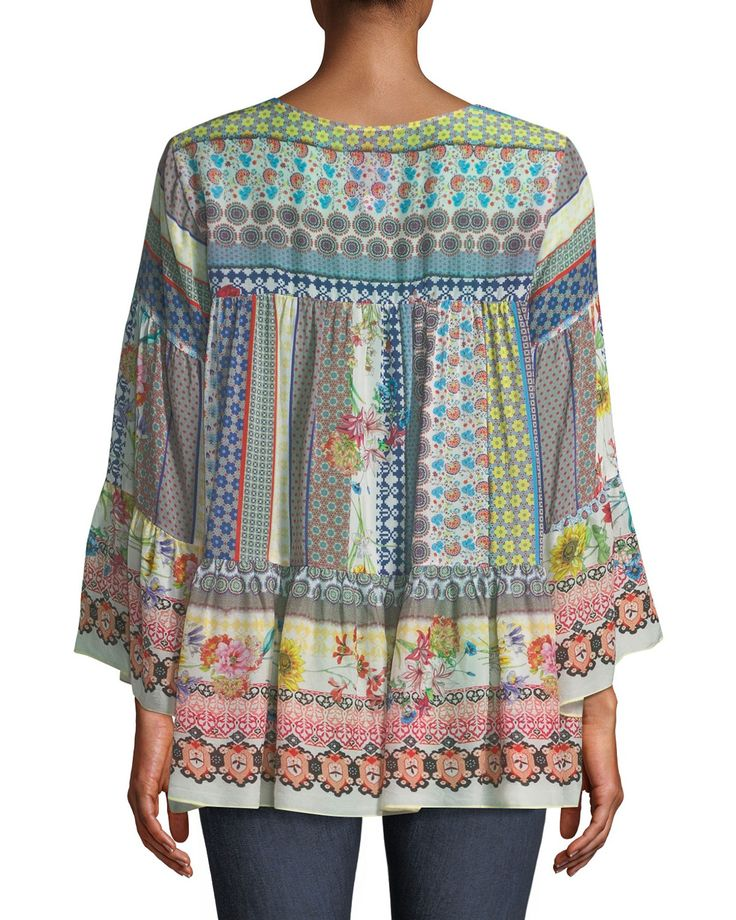 Johnny Was Plus Size Peonies Georgette Flare-Sleeve Blouse